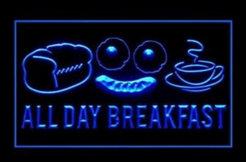 All Day Breakfast Here LED Neon Sign